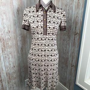 Trina Turk vintage sz 6 brown silk shirt dress